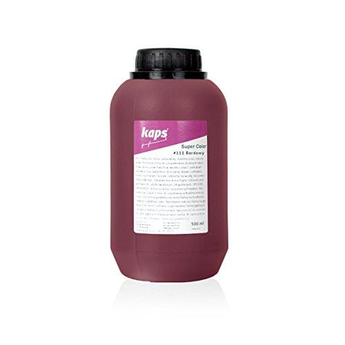 Kaps Pittura Colorante per Pelle e Tessuti Naturali e Sintetici, Super Colour, 82 Colori Standard e Metallici, Bottiglia Grande 500 ml - 16,9 fl. Oz. (111 - bordeaux)