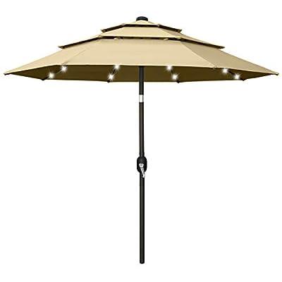 10FT Solar 3 Tiers Market Umbrella Patio Umbrella Outdoor Table Umbrella with 32 LED Ventilation and Push Button Tilt for Garden, Deck, Backyard and Pool,8 Ribs Khaki