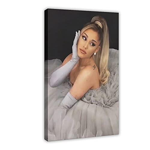 NANMU Ariana Grande Vestido de novia cantante americano cantautor y actor lienzo póster de pared decoración de cuadros para sala de estar, dormitorio decoración de 50 x 75 cm. Marco: