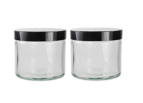 groß Glas Klar Mit Schwarz Deckel, 250ml 2 stück)