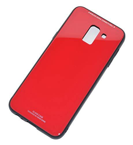 Kepuch Quartz Case Capas TPU &Voltar (Vidro Temperado) para Samsung Galaxy J6 J600 - Vermelho
