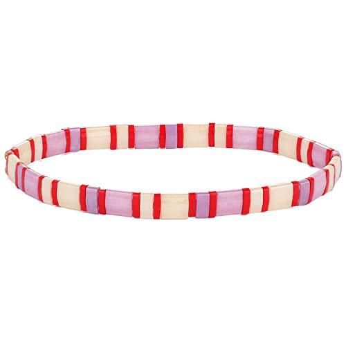KELITCH Tila Miyuki Beads Bracelets Colorful Strand Stretch Bracelets Mixed Friendship Bracelets - 03G