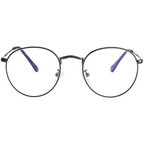 Blue Light Blocking Glasses for Women Men Retro Round Clear Lens Eyeglasses (Gunmetal)