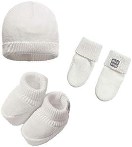 Minutus - Gorro, manoplas y patucos bebé Tricot, 100% algodón, color Beige, Unisex