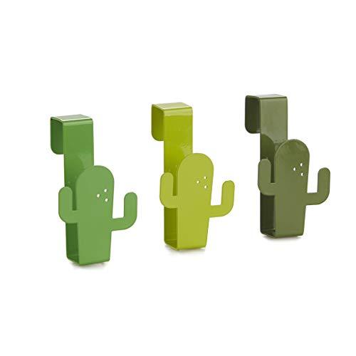 Balvi Colgador cajón Cactus Color Verde Ganchos para Puerta para Colgar paños de Cocina, Toallas de baño, Bufandas, etc Diseño en Forma de Gato Metal 5,5x9x4 cm