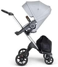 Stokke Xplory V6 Silver Chassis Stroller with Brown Leatherette Handle, Grey Melange