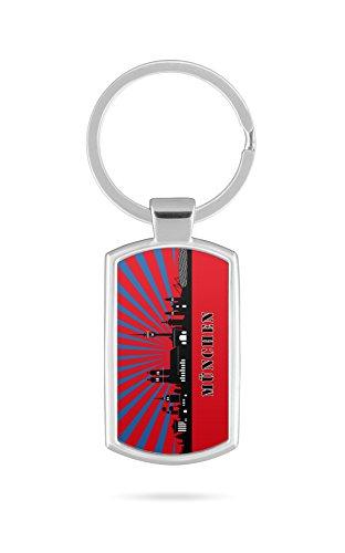 Schlüsselanhänger mit Gravur Wunschtext Name München Skyline