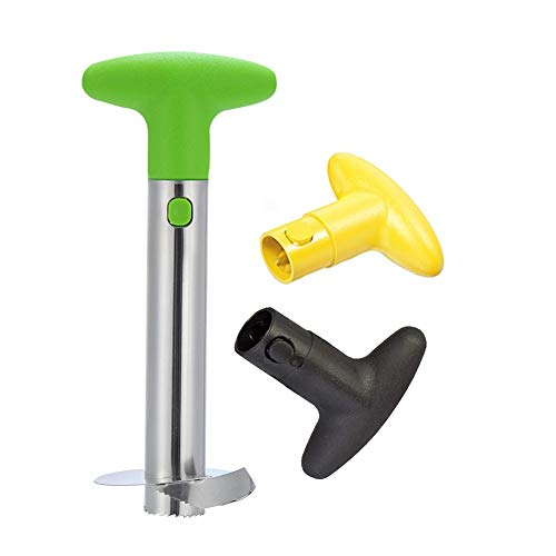 Kimiyoo Pineapple Cutter and Corer  Stainless Steel Pineapple Peeler Slicer and Fruit Core Remover with 2 Extra Replacement Handles