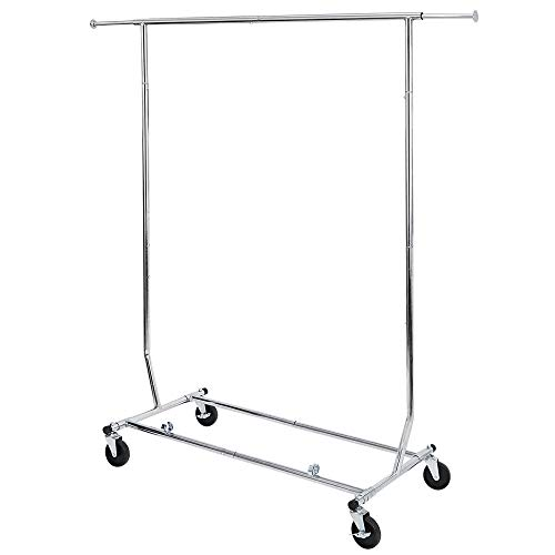 ZENY Commercial Grade Clothing Garment Rack Heavy Duty Clothes Rack on Wheels with Extendable Hanging Rail Holds up to 250 lb Collapsible Clothing Rack
