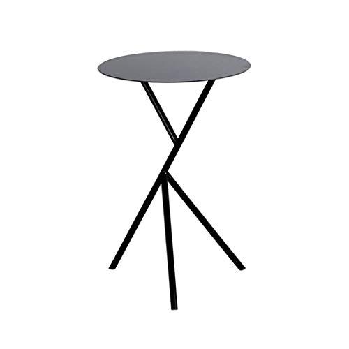 TLMY Mesa auxiliar pequeña, minimalista, moderna y creativa, de hierro forjado, para café/sala de estar, sofá, mesa redonda, color dorado y blanco (38 x 38 x 58 cm) mesa plegable (color: A)
