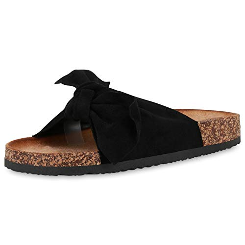 SCARPE VITA Damen Sandalen Pantoletten Korkoptik Sommerschuhe Schlappen Schleifen Schuhe Flats Hausschuhe 190567 Schwarz Schwarz Black 36