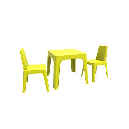 resol Julieta set infantil de 2 sillas y 1 mesa para interior, exterior, jardín - color verde lima