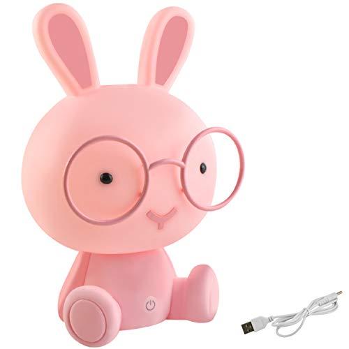 MALATEC Kinderlampe Nachtlicht für Kinder mit Lichtintensitätsregelung Einschlafhilfe Hase /Teddybär 7881, Muster:Kaninchen rosa