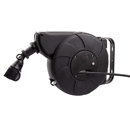 LEDKIA LIGHTING Kabelrolle mit automatischem Rücklauf 11m + 2m IP44 Schwarz