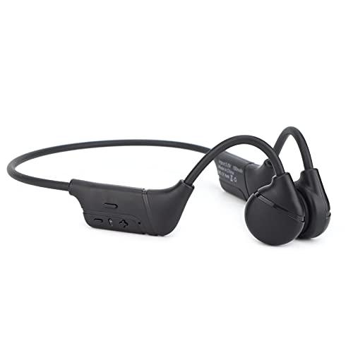 Jopwkuin Auriculares estéreo Deportivos Abiertos, con parlantes Auriculares Tecnología de conducción ósea para Viajes al Aire Libre(Negro)