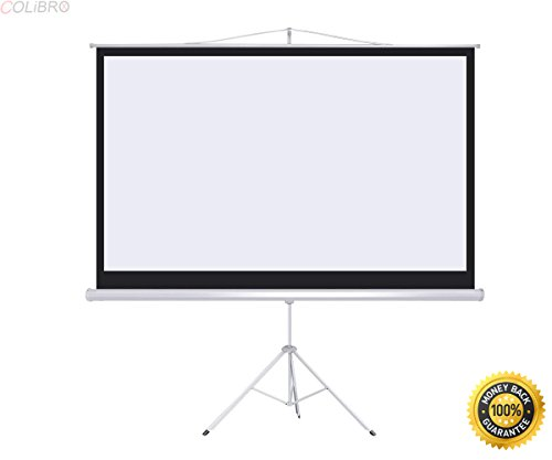 COLIBROX--New Portable 100' Projector 16:9 Projection Screen Tripod Pull-up Matte White,projectors for home theater walmart,projectors for sale