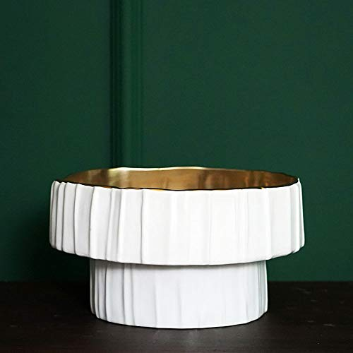 Yifuty Moderna de cerámica Blanca de Origami del Alto del Cuenco de Fruta, Ligero y Sencillo Modelo de decoración de Interior, Bandeja de Frutas Inicio 23 * 23 * 13 cm / 9.0 * 9.0 * 5.1 pulgad