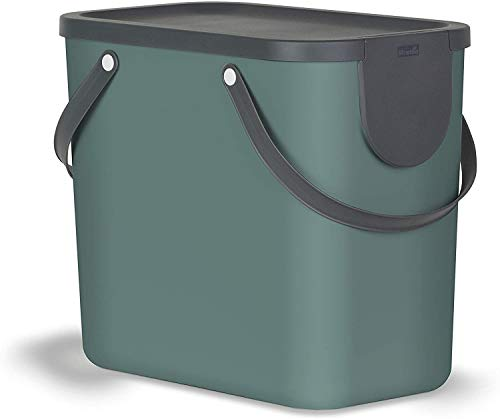 Rotho Albula Mülltrennungssystem 25l für die Küche, Kunststoff (PP) BPA-frei, dunkelgrün/anthrazit, 25l (40,0 x 23,5 x 34,0 cm)