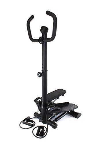 QM Basic Swing Side Stepper mit Griff Trainingsbändern Computer; für Einsteiger Senioren Fester Haltegriff