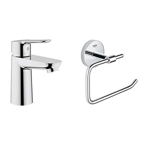 Grohe BauEdge - Grifo de lavabo de baño para instalación en un solo agujero. Tamaño S. Incluye sistema de ahorro de agua (Ref. 23330000) + Grohe BauCosmopolitan - Portarrollos de baño (Ref. 40457001)