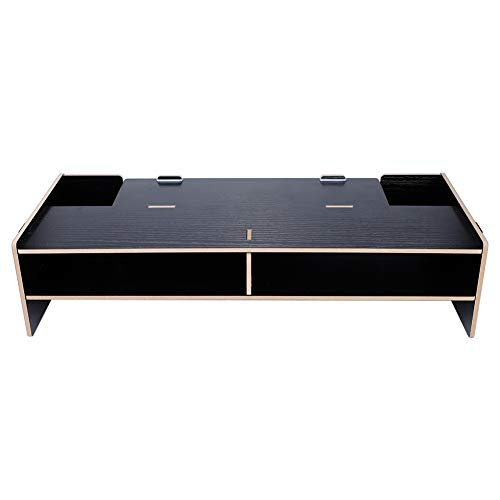 Biuzi Monitor Verhoog het rek, 1 stuk Verhoog het plankrek Plankstandaard voor het beeldscherm toetsenbord Basishouder Houten plank (zwart)