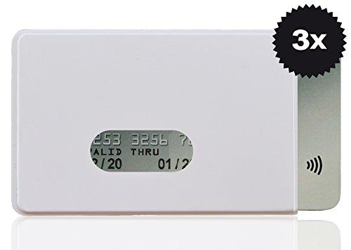 OPTEXX® RFID-Schutzhülle TÜV geprüft & zertifiziert Fred für Kreditkarte   EC-Karte   Personal-Ausweis aus Hart-Plastik-Hülle sicheres Blocking von Funk Chips (Weiß 3x)