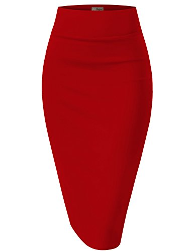 Womens Pencil Skirt for Office Wear KSK43584 1139 RED L