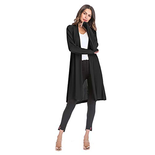 Yyh Cardigan Kimono Cardigan Tops Casual Losse strand-vertukking blouse tops Large zwart