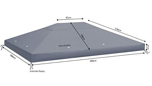 QUICK STAR Ersatzdach aus PE für Pavillon 3x4m Anthrazit RAL 7012 Ersatzbezug Pavillondach
