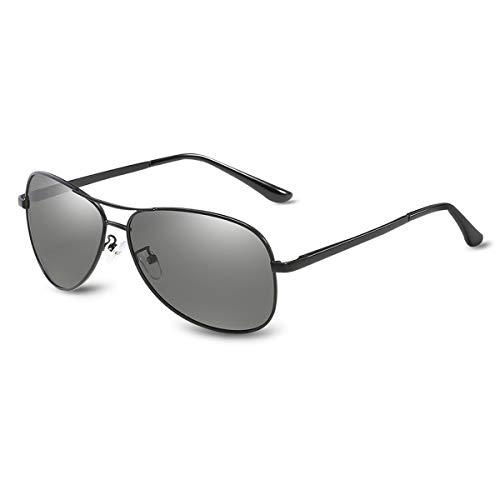 LumiSyne Hombre Gafas De Sol Fotocromáticas,Gafas De Conducción De Piloto Clásicas,Lentes Polarizadas,Montura Metálica,Protección Uv 400 Viajes Al Aire Libre