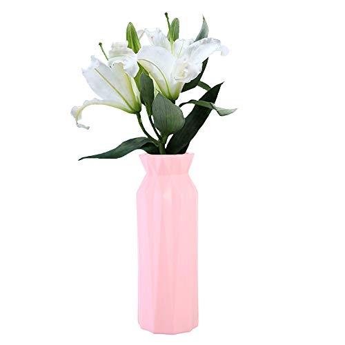 OEMINI 3 Pcs Nordic Flower Vase Decor Home Plastic Vase Imitation Pots Ceramic Flower, Ceramic Look Plastic Vase for Home Decor Living Room Table (B-Pink)