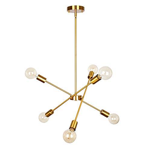 PUZHI HOME 6 Lights Fixture Modern Sputnik Chandelier Pendant Lighting Brushed Brass Mid Century Chandelier Hanging Flush Mount Light Fixtures with Adjustable Arms for Dining Room Kitchen Living Room
