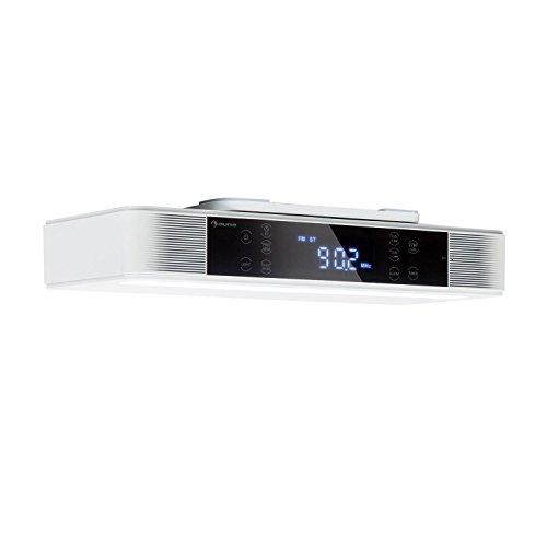 auna KR-140 - Küchenradio, Unterbau Radio, UKW-PLL-Radiotuner, 4.1 Bluetooth, 40 Senderspeicherplätze, LED-Arbeitsflächen-Beleuchtung, wasserabweisendes Touch-Display, Dual-Alarm, weiß