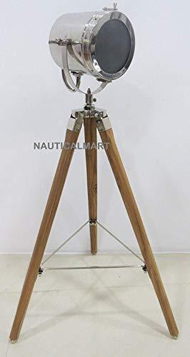 Trípode de acabado cromado para lámpara de pie, diseño retro