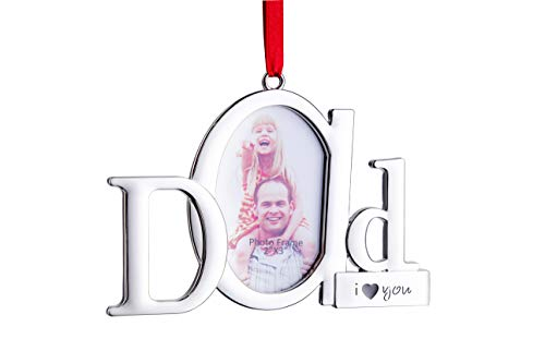 Klikel Dad Frame Picture Ornament – Holds One 2x3 Photo – Christmas Picture Frame Tree Decoration with Red Tie Ribbon – Silver