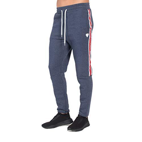 FRANKIE GARAGE Pantalone Tuta Blu con Strisce Rosse (S)