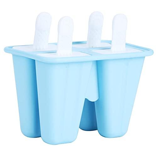 Emoshayoga Moldes para paletas de Hielo Moldes para paletas de Hielo antiadherentes Reutilizables para pudín(4 Sticks)