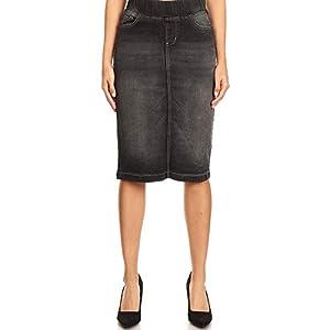 Women's Midi Casual Modest Knee Length Denim Jean Pencil Skirt