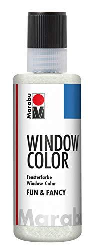 Marabu 04060004582 - Window Color fun & fancy, glitzer silber 80 ml, Fensterfarbe mit Glitter Farbe auf Wasserbasis, ablösbar auf glatten Flächen wie Glas, Spiegel, Fliesen und Folie