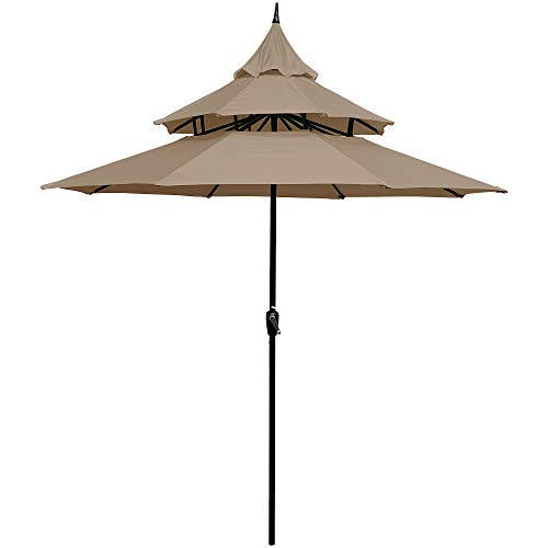 Sunset Vista Designs 300005-T Imperial 9 Ft. Steel Pagoda Outdoor Patio Umbrella with Easy Crank Lyft (No Tilt), Tan