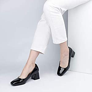 Heel The World Women's Dress Pumps Low Chunky Block Heels Square Toe Party Office Shoes