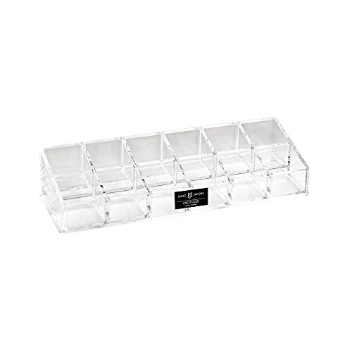 Isaac Jacobs Clear Acrylic 12 Compartment Nail Polish Holder, Organizer for Makeup, Essential Oils, Storage Solution, Rack Display (2 Rows (x6))