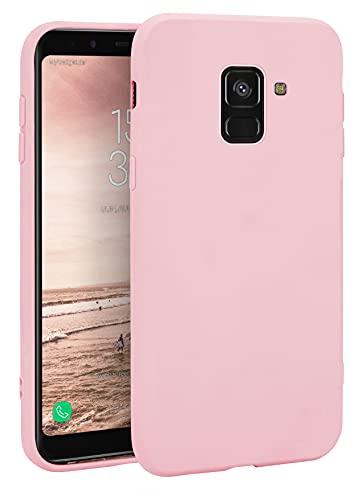 MyGadget Coque Silicone pour Samsung Galaxy A8 2018 - Case TPU Souple & Soft - Cover Protection Extra Fine & Légère - Étui Coloré Anti Choc et Rayures - Rose