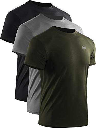 Neleus Men's Dry Fit Athletic Workout Running Shirt,3 Pack,Black/Grey/Olive Green,L,EU XL