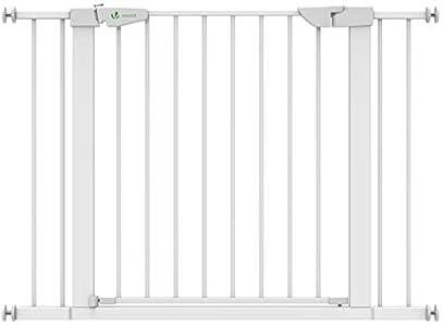 VOUNOT Puertas de Seguridad para Niños, 76-108 cm, Barrera Escalera para Bebé y Perros, Auto Close, Sin Taladrar, Blanco