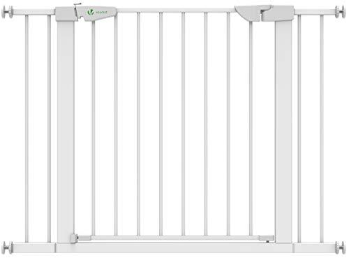 VOUNOT Treppenschutzgitter 76–108cm, ohne Bohren, Türschutzgitter für Kinder, Hunde und Katzen, Auto-Close Treppengitter, Magnetverschluss, 90° Stop, Weiß