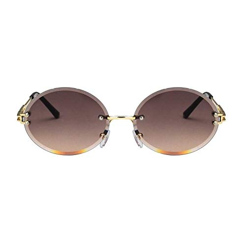 IRCATH Gafas de Sol rectangulares sin Montura de Moda para Mujer, Gafas de Sol pequeñas ovaladas para Hombre, UV400, Gafas Transparentes UV400-C5