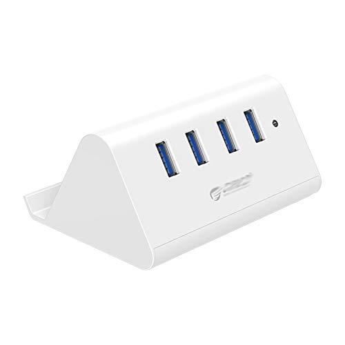 CMDZSW USB3.0 - Divisor de HUB para ordenador de sobremesa con soporte para teléfono y tableta, color negro y blanco (4 puertos USB3.0 blanco)