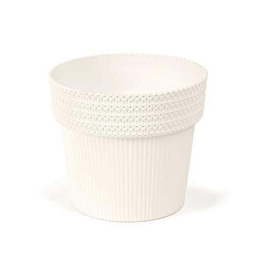 Lamela pot Pola Jumper | Diameter 16cm, hoogte: 14cm | Kleur: Beige | Bloempot voor bloemen en planten | Vanage kunststof plantenbakken