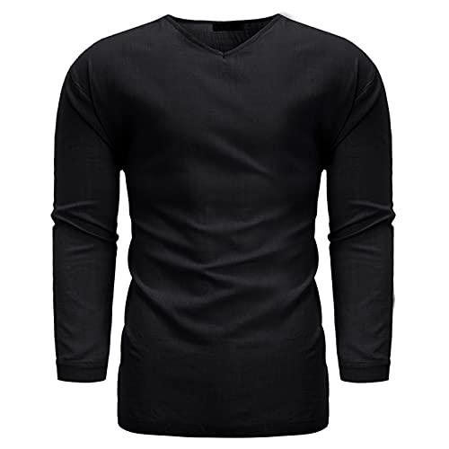 Pullover para Hombre Tops Color sólido Simple Cómodo Casual Diario Todo-fósforo Básico Tamaño Grande Moda Camisas Delgadas 3XL